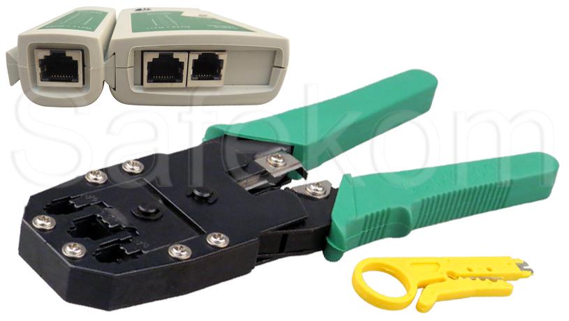 rj45 ethernet cable tester crimping crimper tool connectors boots network kit ebay. Black Bedroom Furniture Sets. Home Design Ideas