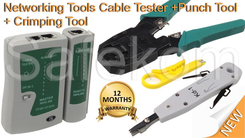 rj45 ethernet network cable tester crimping crimper stripper punch down tool kit. Black Bedroom Furniture Sets. Home Design Ideas