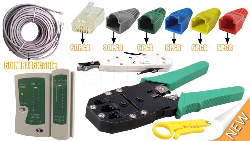 50m network ethernet rj45 cat5 cable tester cutter crimper punch down tool kit ebay. Black Bedroom Furniture Sets. Home Design Ideas