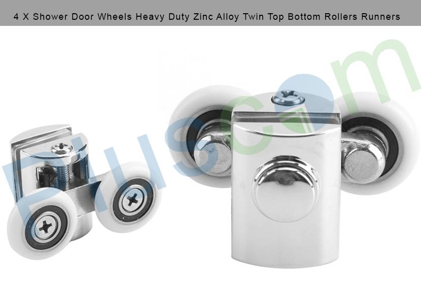 4 X Shower Door Wheels Heavy Duty Zinc Alloy Twin Top