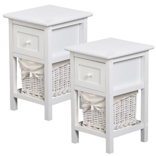 pair of shabby chic white bedside units tables w wicker
