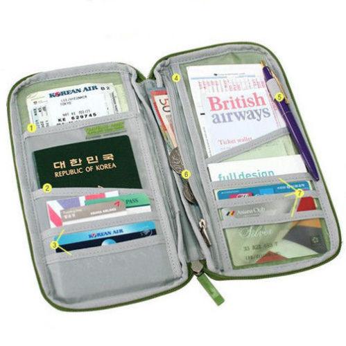 Full Closure Zipped Travel Bag Wallet Document Organiser Passport Ticket Holder