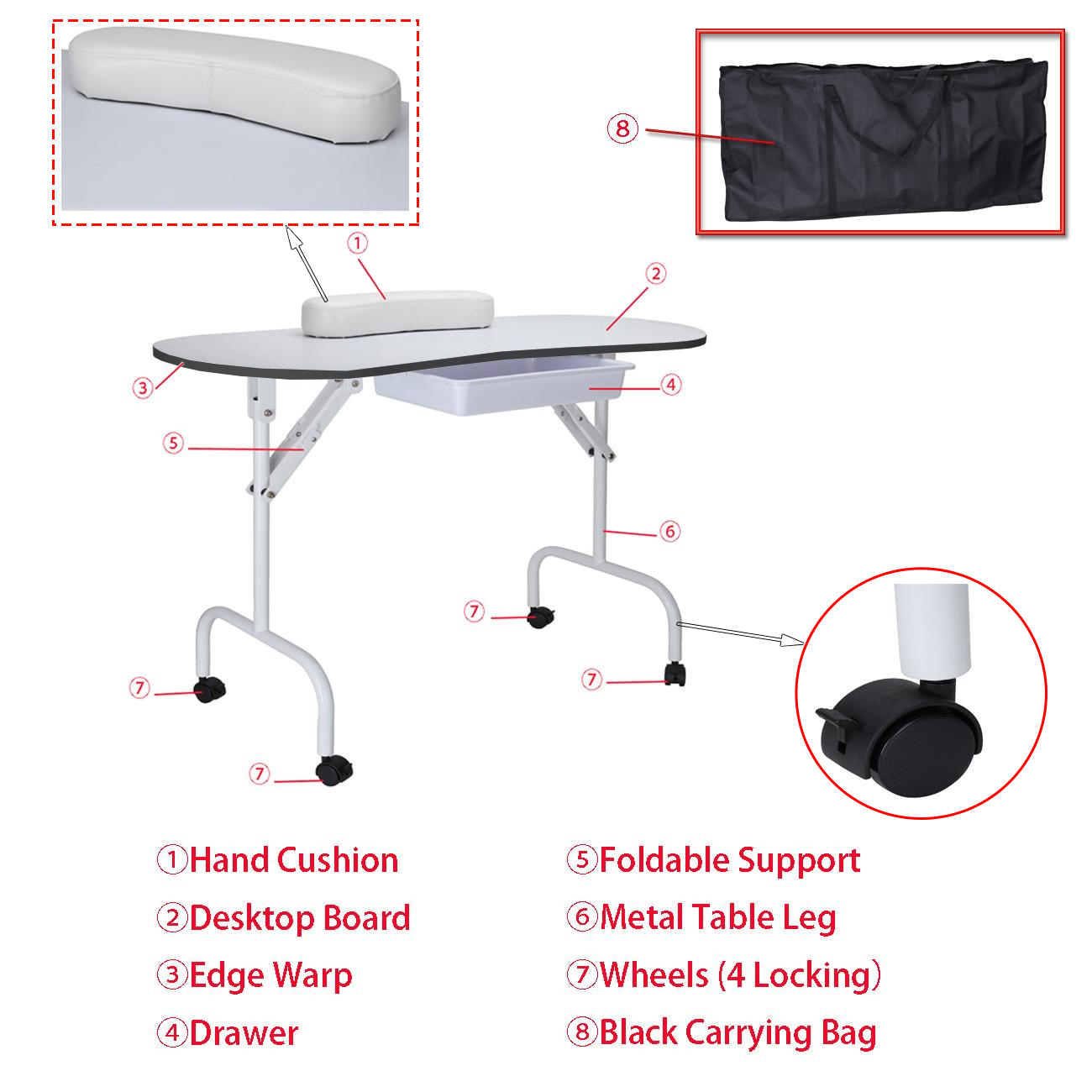 Portable Manicure Table With Carry Bag FOLDABLE PORTABLE MOBILE MANICURE NAIL ART SALON TABLE TECHNICIAN DESK ...