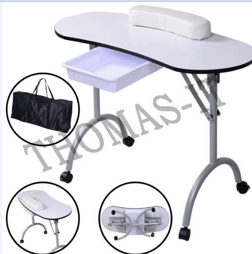 Foldable portable mobile manicure nail art salon table for Folding nail technician table