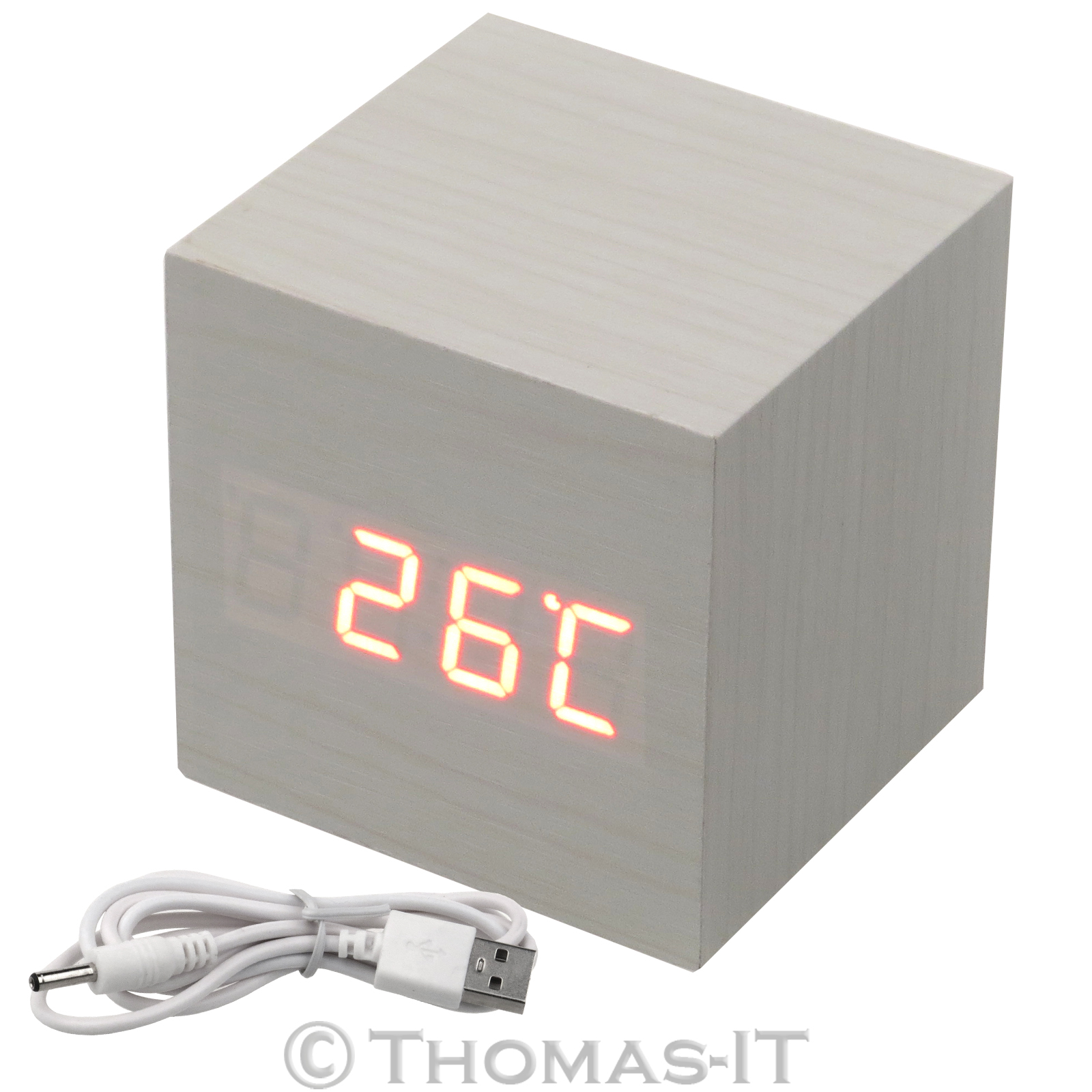 wood cube led alarm voice control digital desk clock. Black Bedroom Furniture Sets. Home Design Ideas